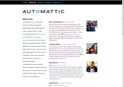 the new about page